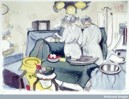 L0028353 A gynaecological operation. Colour lithograph by Virginia Po