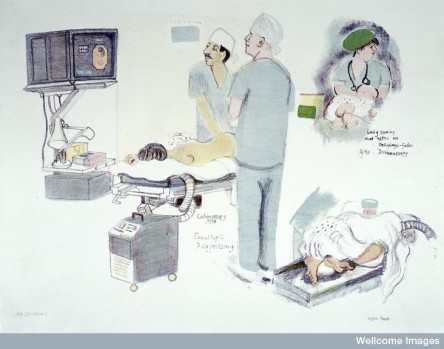 L0028329 Endoscopy operations. Colour lithograph by Virginia Powell,